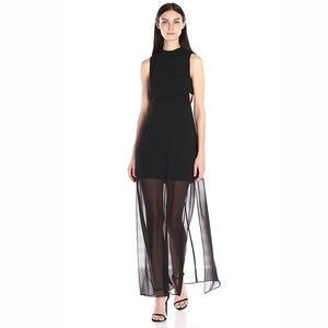 BCBGENERATION MOCK NECK SHEER SKIRT OVERLAY DRESS